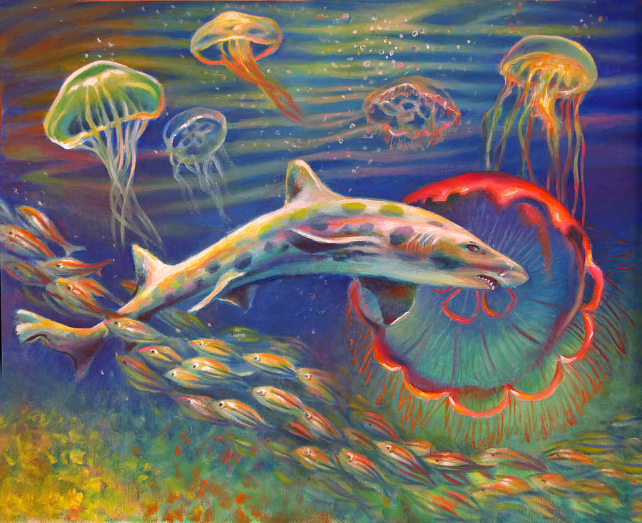 Leopard shark and jellyfish painting by nancy tilles for Jelly fish painting