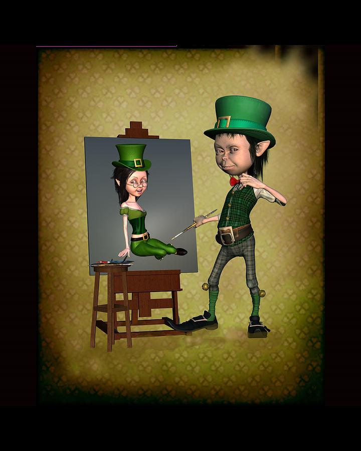 Elf Digital Art - Leprechaun Painter by John Junek