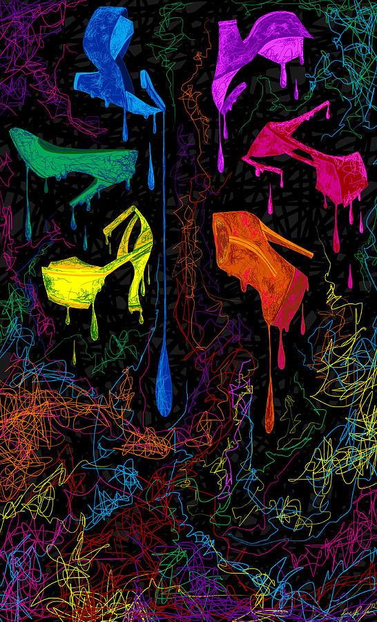 Stilettos Painting - Les Couleur Des Chaussures Numero 1 by Kenal Louis