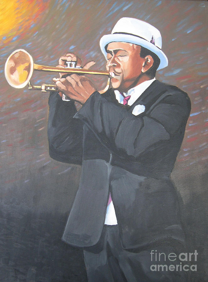 Jazz Painting - Let Trumpet Sound by Joan McGivney