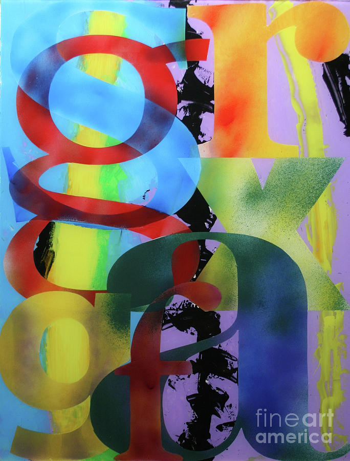 Abstract Painting - Letterforms 1 by Mordecai Colodner