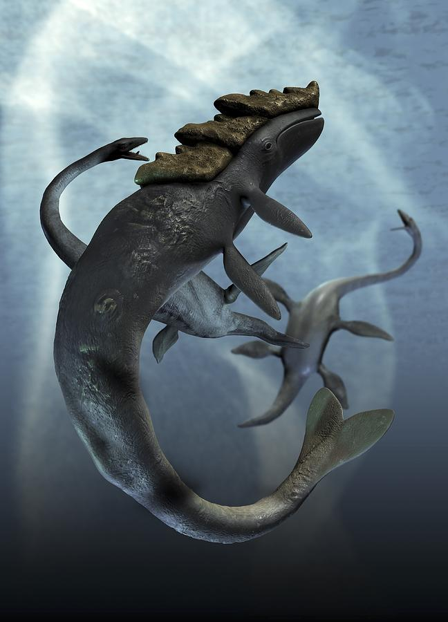 Leviathan And Plesiosaur, Artwork Digital Art by Victor Habbick Visions