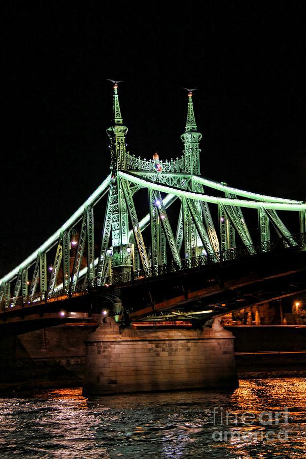 Liberty Photograph - Liberty Bridge At Night by Mariola Bitner