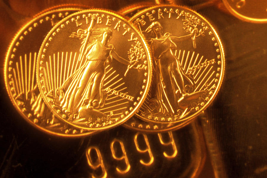 Horizontal Photograph - Liberty Gold Coins by Lyle Leduc