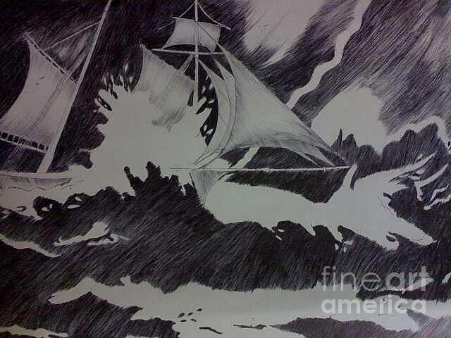 Ship Painting - Life by Chitra Helkar