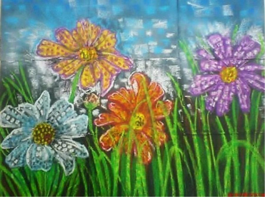 Flowers Mixed Media - Life by Rumesa Saddozai