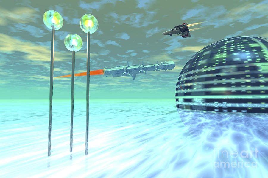 Architecture Digital Art - Life Under Domes On An Alien Waterworld by Corey Ford