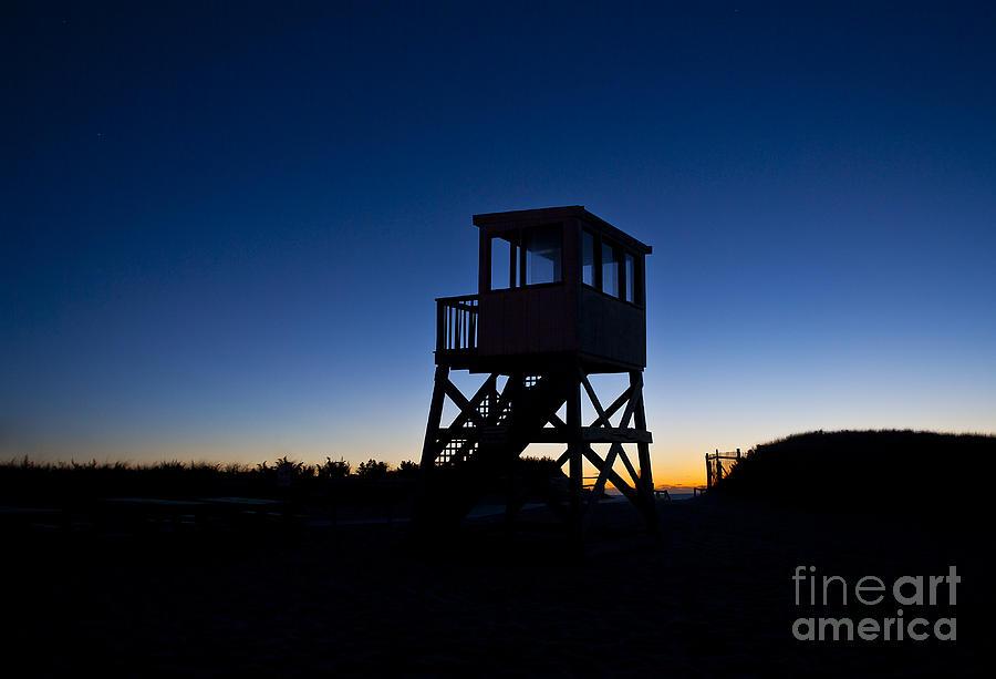 Atlantic Ocean Photograph - Lifeguard Stand At Dawn by John Greim