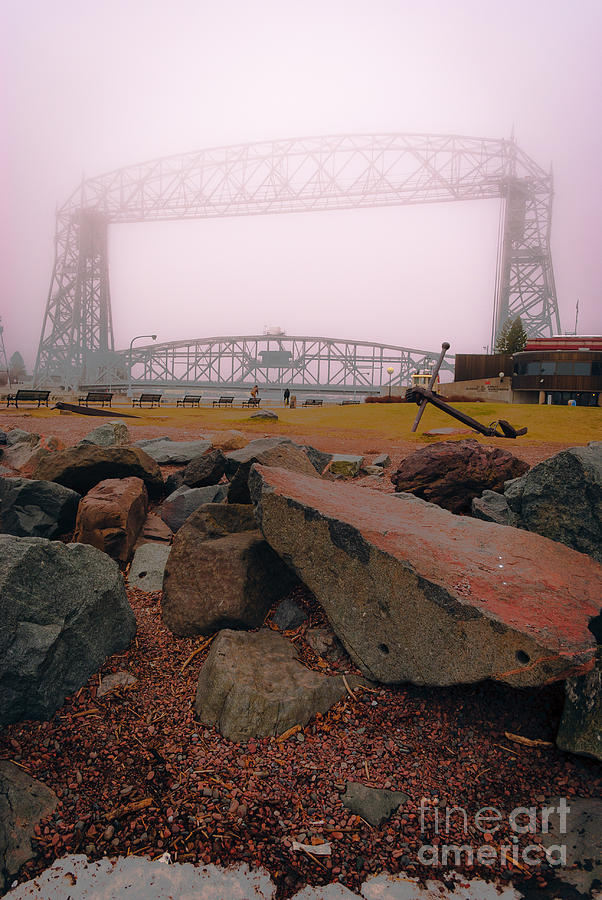 Lake Superior Photograph - Lift Bridge in Spring Fog by Ever-Curious Photography