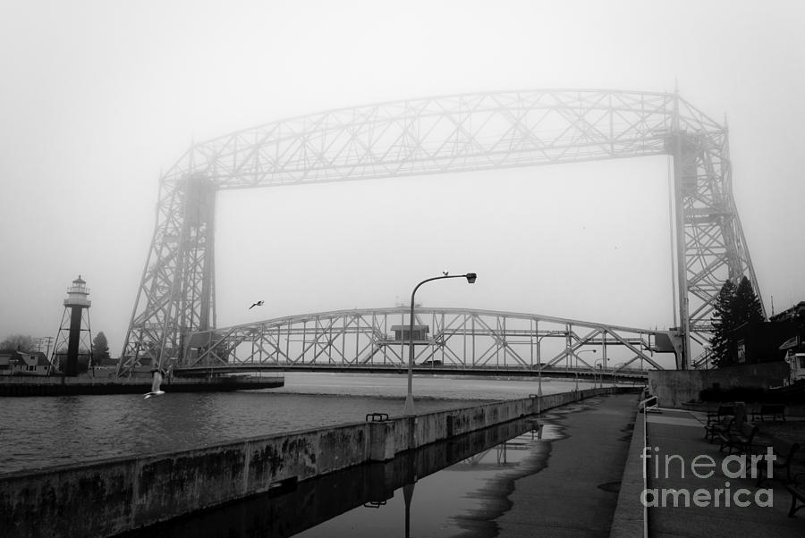 Lake Superior Photograph - Lift Bridge Silver Fog by Ever-Curious Photography