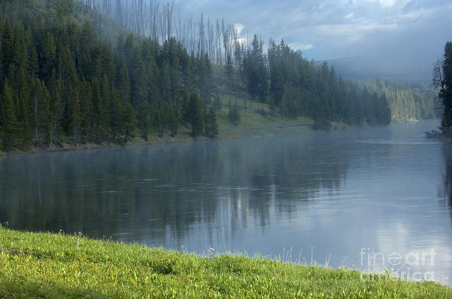 Bronstein Photograph - Lifting Fog On The Yellowstone by Sandra Bronstein