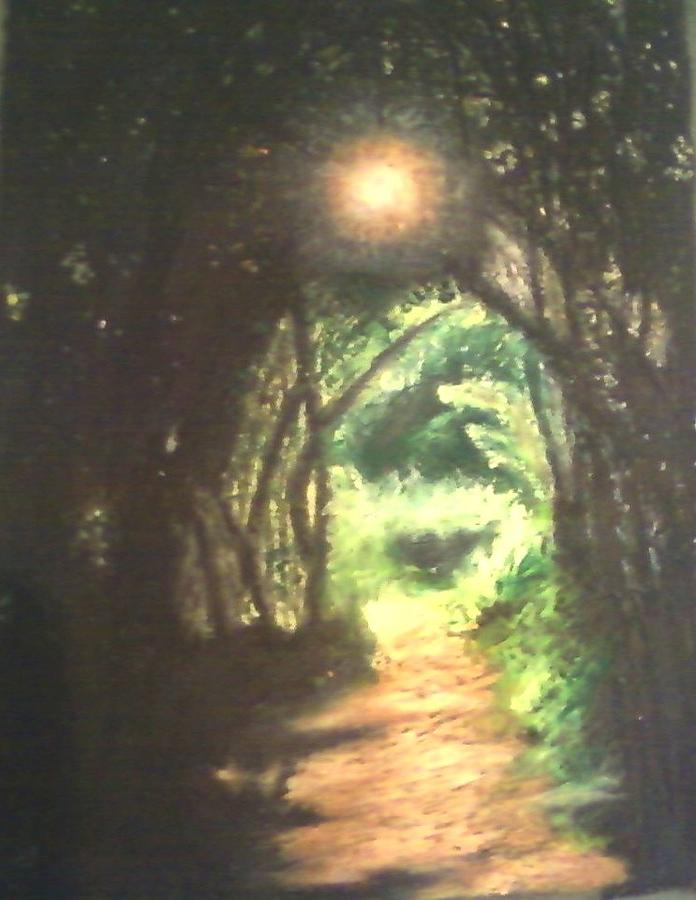 Landscape Painting - Light At The End Of The Trail by Samuel McMullen
