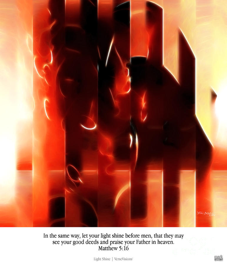 Abstract Painting - Light Shine. Christian Art Poster by Mark Lawrence
