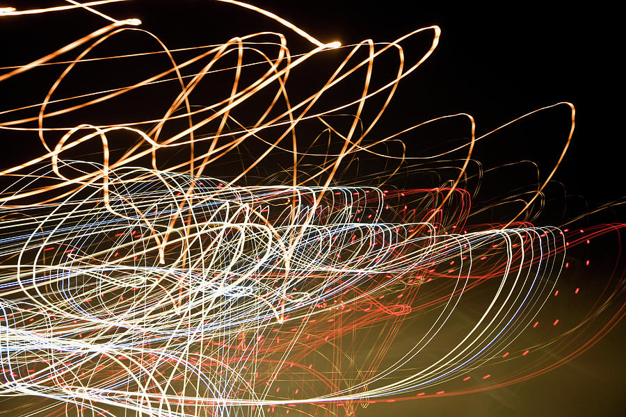 Horizontal Photograph - Light Trails At Night by Frederick Bass