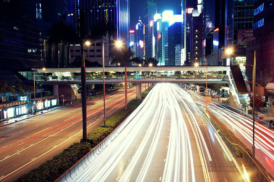 Horizontal Photograph - Light Trails At Traffic On Street At Night by Thank you for choosing my work.