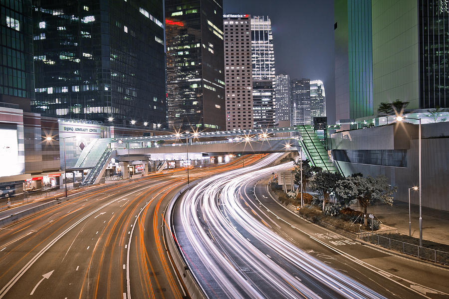 Horizontal Photograph - Light Trails On Road by Andi Andreas