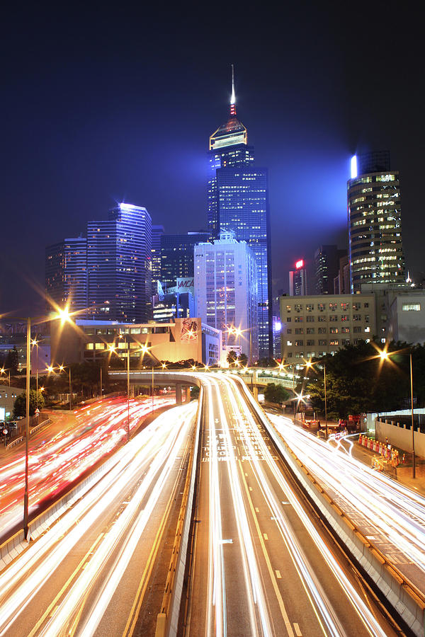 Vertical Photograph - Light Trails On Road by From John Chan, johnblog.phychembio.com