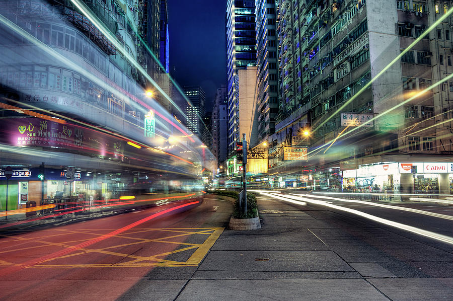 Horizontal Photograph - Light Trails On Street At Night by Thank you for choosing my work.