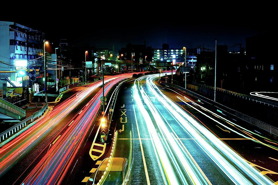 Horizontal Photograph - Light Trails by Photo by ball1515