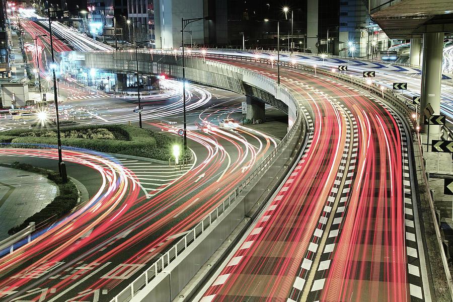 Horizontal Photograph - Light Trails by Spiraldelight