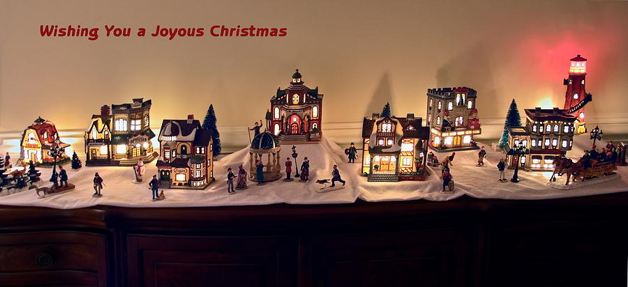 lighted photograph lighted ceramic village greetings by sally weigand