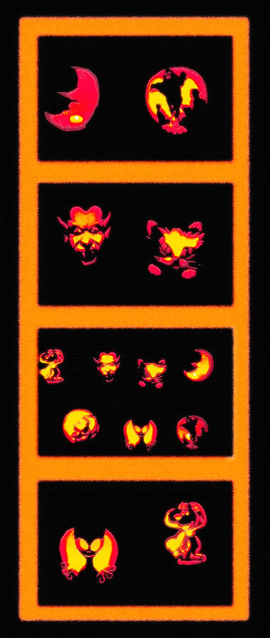 Halloween Photograph - Lighted Jack-o-lanterns Tetraptych by Steve Ohlsen