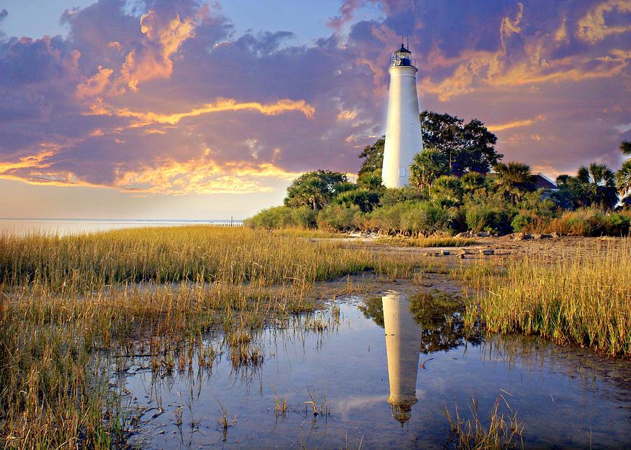Lighthouse Photograph - Lighthous Reflection 1 by Marty Koch