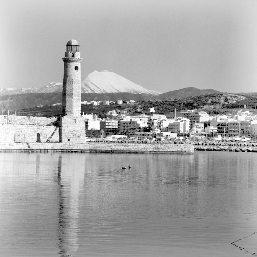 Lighthouse Photograph - Lighthouse And Psiloritis by Paul Cowan