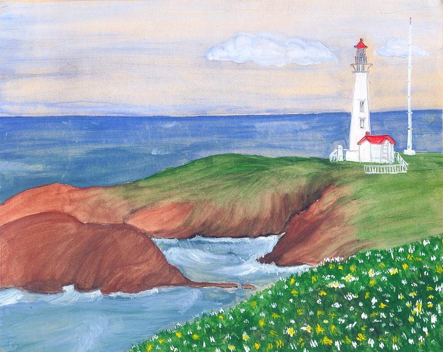 Lanscape With White Lighthouse Painting - Lighthouse by Archana Saxena
