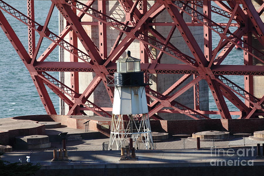 San Francisco Photograph - Lighthouse Atop Fort Point Next To The San Francisco Golden Gate Bridge - 5d19001 by Wingsdomain Art and Photography