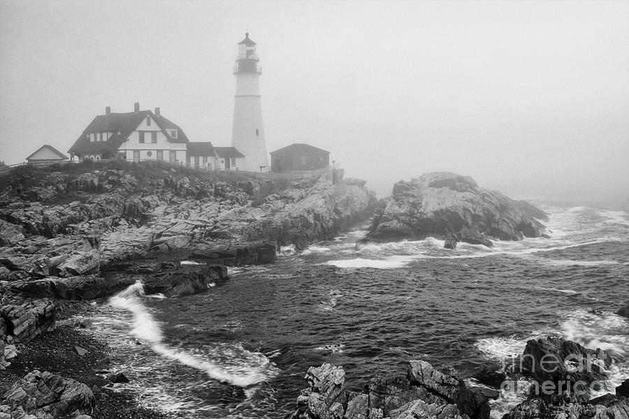 Lighthouse In The Fog - Black And White Photograph by ...
