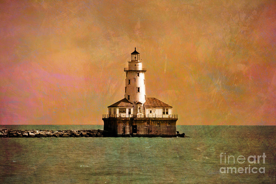 Lighthouse Off Navy Pier Photograph - Lighthouse Off Navy Pier by Mary Machare