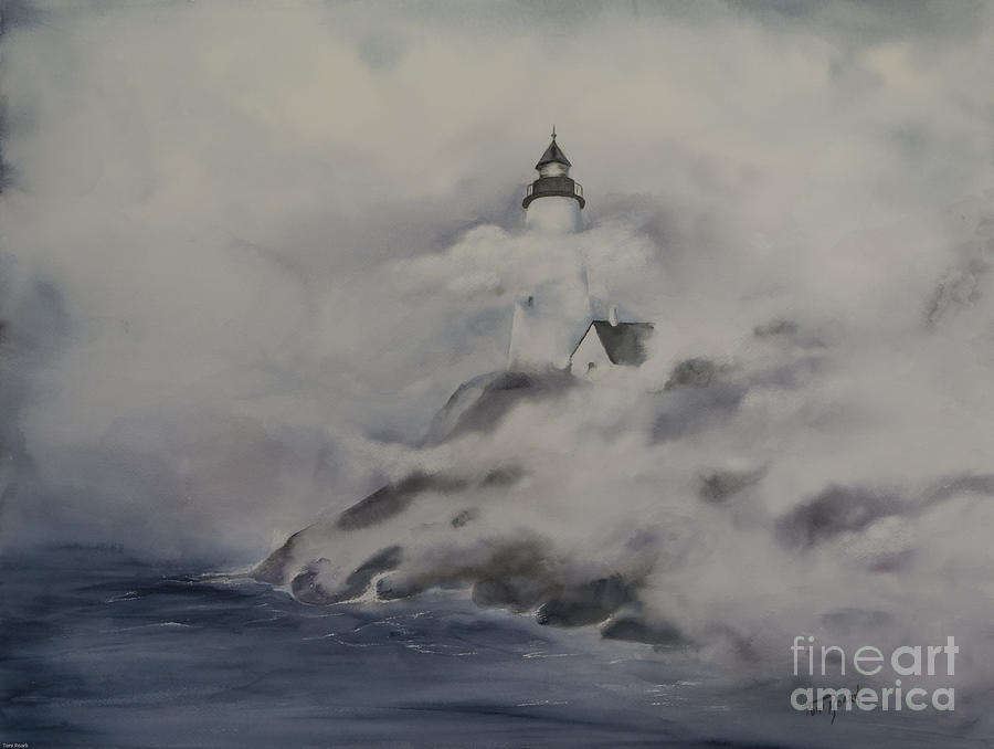 Image result for lighthouse fog paintings
