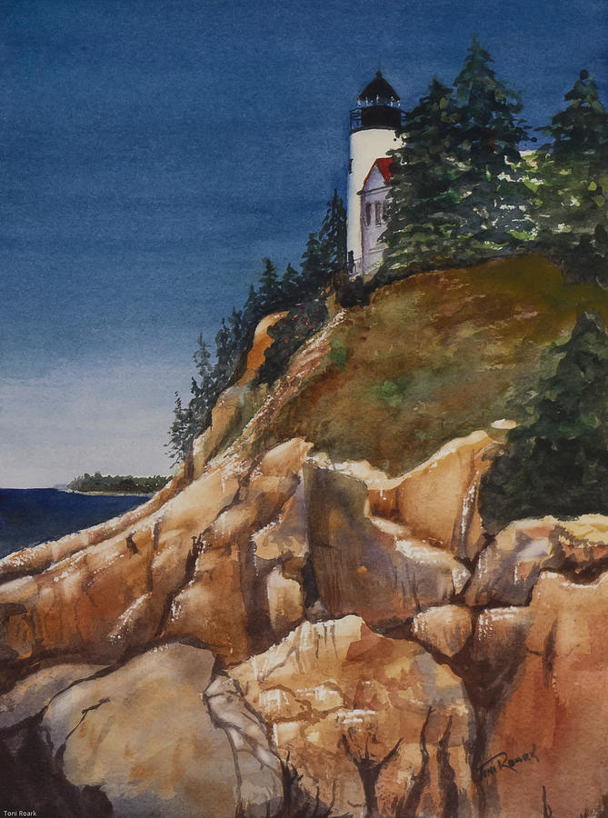 Lighthouse On Rocky Cliff Painting By Toni Roark