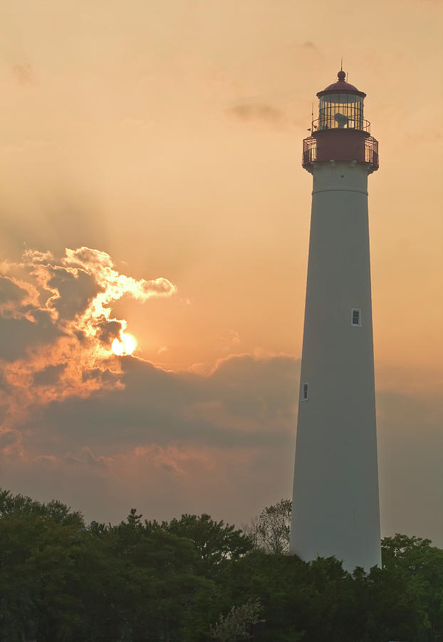 Cape May Lighthouse Photograph - Lighthouse Sunset by Tom Singleton