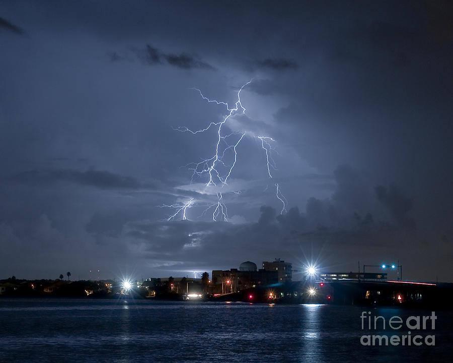 Lightning Photograph - Lighting In Dunedin Florida by Stephen Whalen & Lighting In Dunedin Florida Photograph by Stephen Whalen azcodes.com