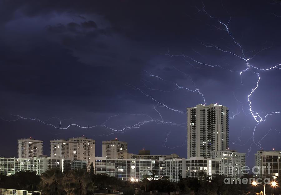 Lightning Photograph - Lightning Bolt In Sky by Blink Images