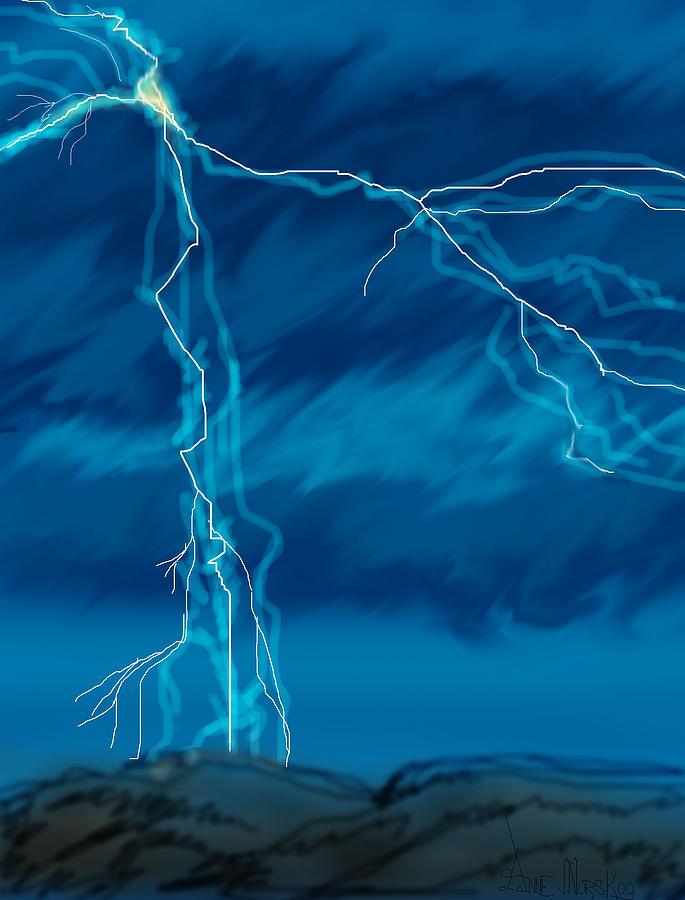 Lightning Storm Digital Art - Lightning in Wyoming by Anne V Norskog