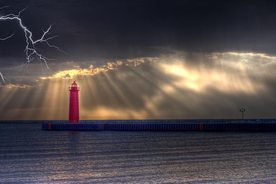 Lightning Photograph - Lightning Over Muskegon Lighthouse by Jeramie Curtice