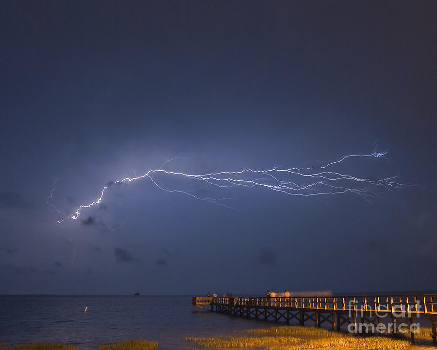 Lightning Photograph - Lightning Over The Pier by Stephen Whalen