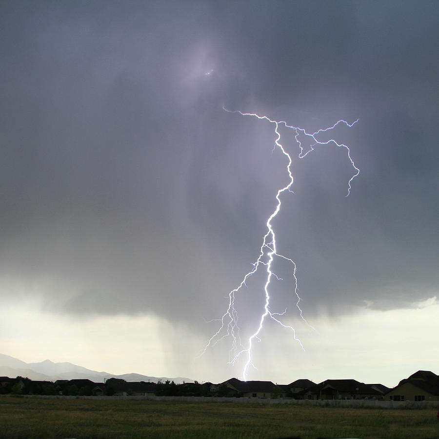 Square Photograph - Lightning Strike by Bill Dunford