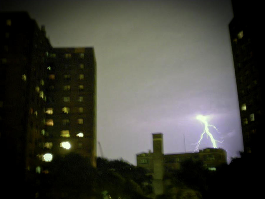 Night Photograph - Lightning Strike by Cathy Brown