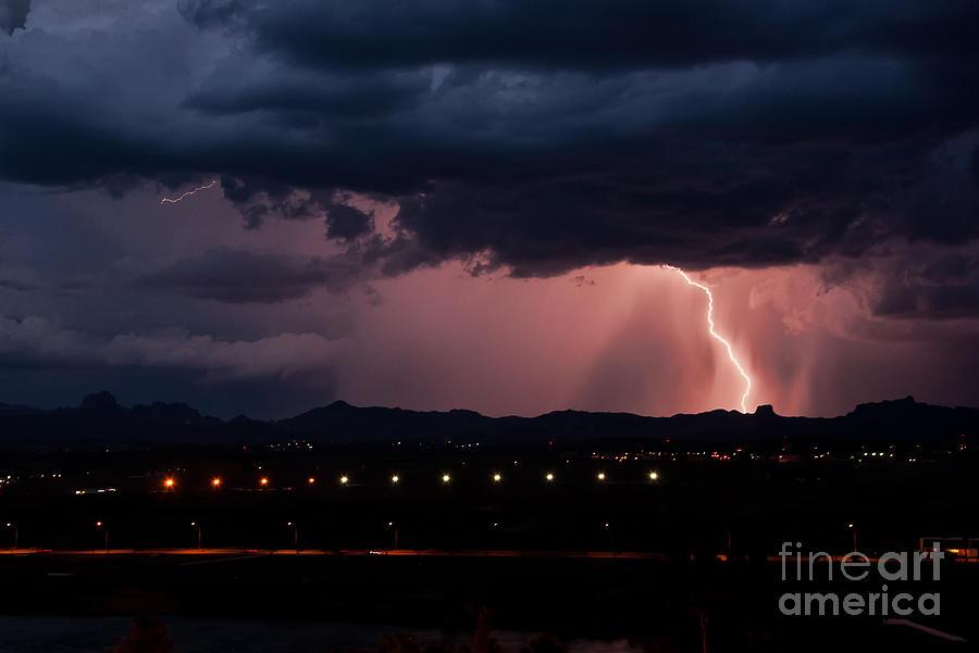 Lightning Photograph - Lightning Strike by Eddie Yerkish