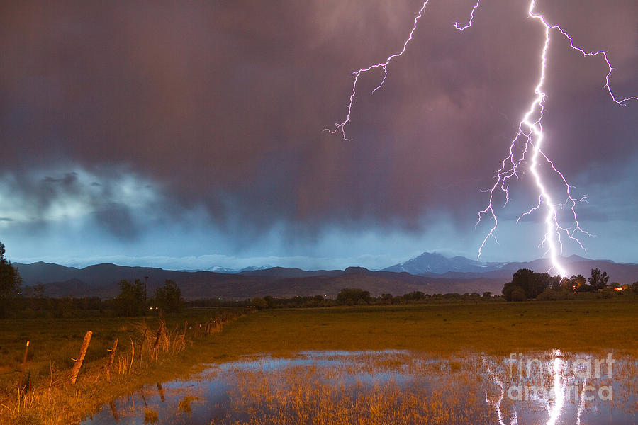 Decorative Photograph - Lightning Striking Longs Peak Foothills 5 by James BO  Insogna