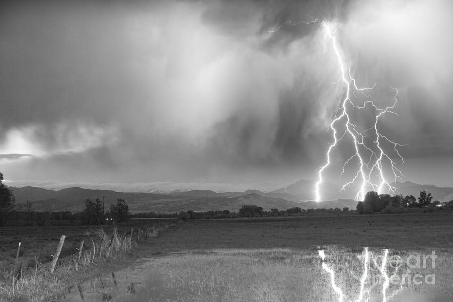 Awesome Photograph - Lightning Striking Longs Peak Foothills 6bw by James BO  Insogna