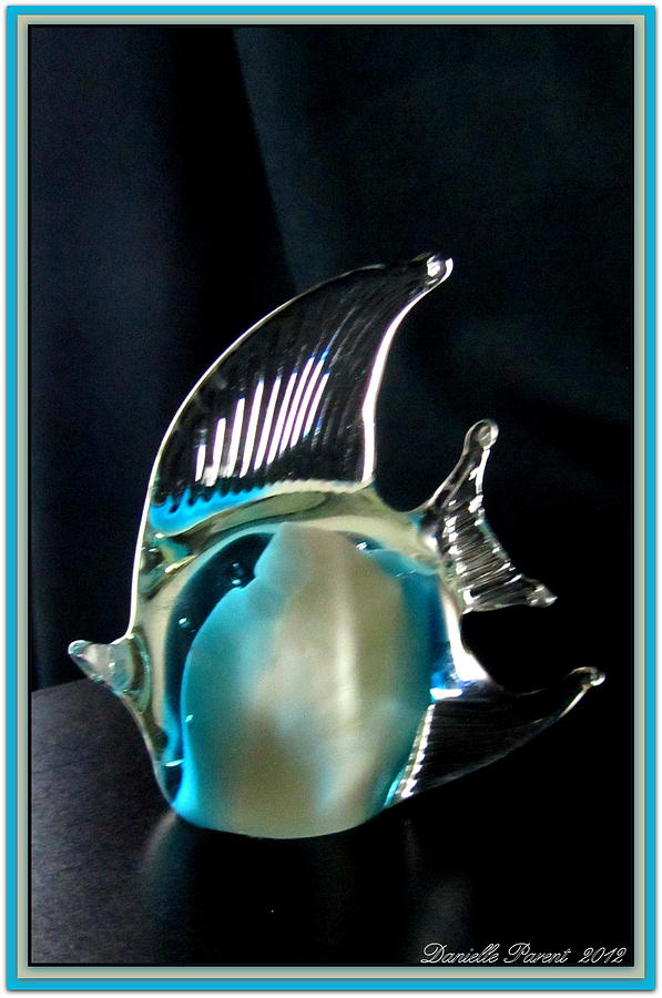 Blue Color Blank Greeting Cards Photograph - Lights And Glass Study 1  Blue Fish by Danielle  Parent