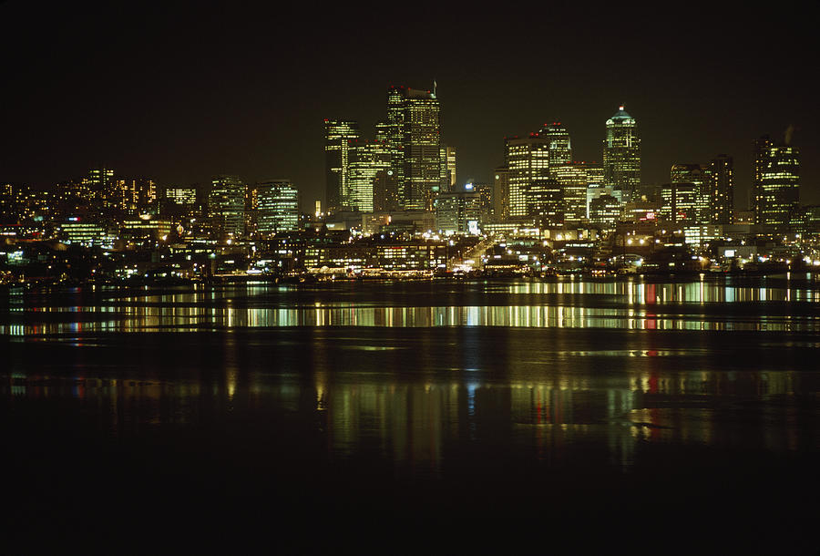 Color Image Photograph - Lights Of Downtown Seattle Reflect by Gordon Wiltsie