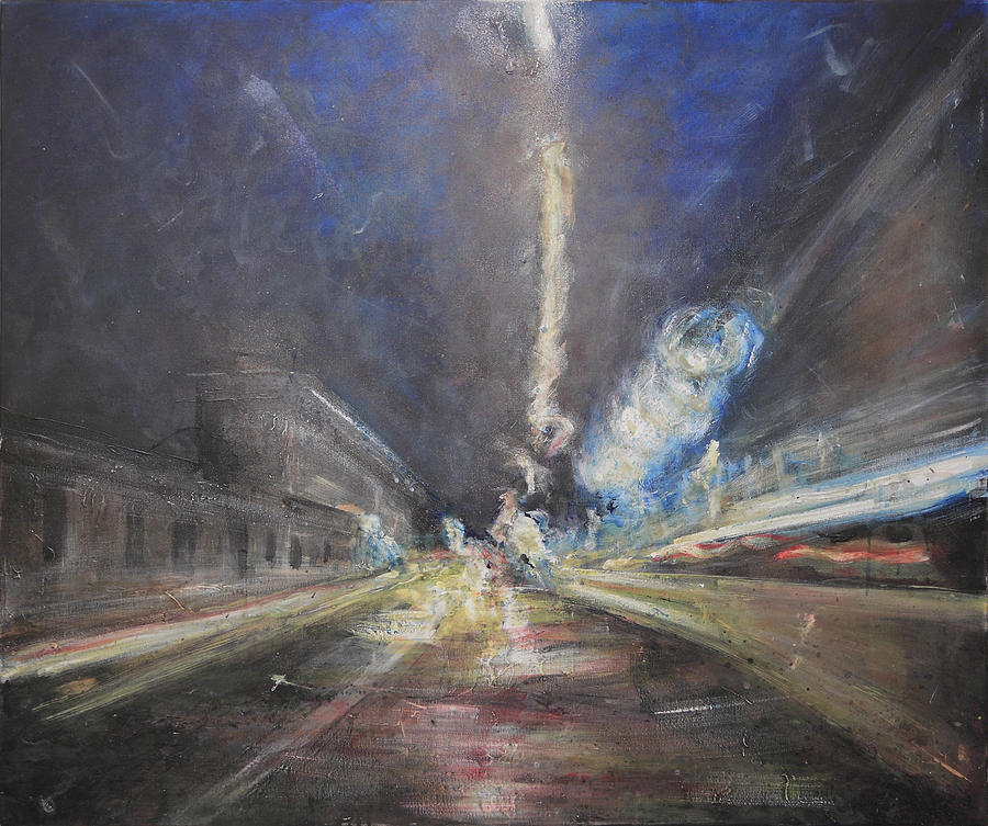 Lights On Aurelia Way Painting by Mario Genovesi