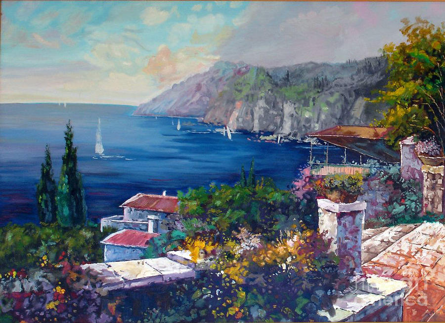 Landscape Painting - Like A Fairytale - Detail One by Kostas Dendrinos