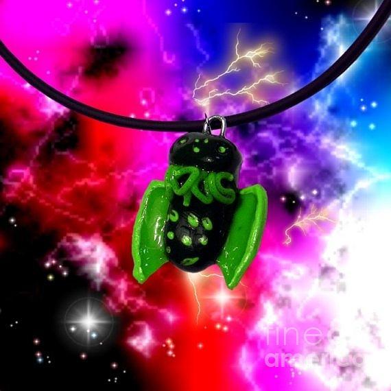 Polymer Clay Jewelry - Lil Cthulhu Lovecraft Alien Cartoon Necklace Awake by Pet Serrano
